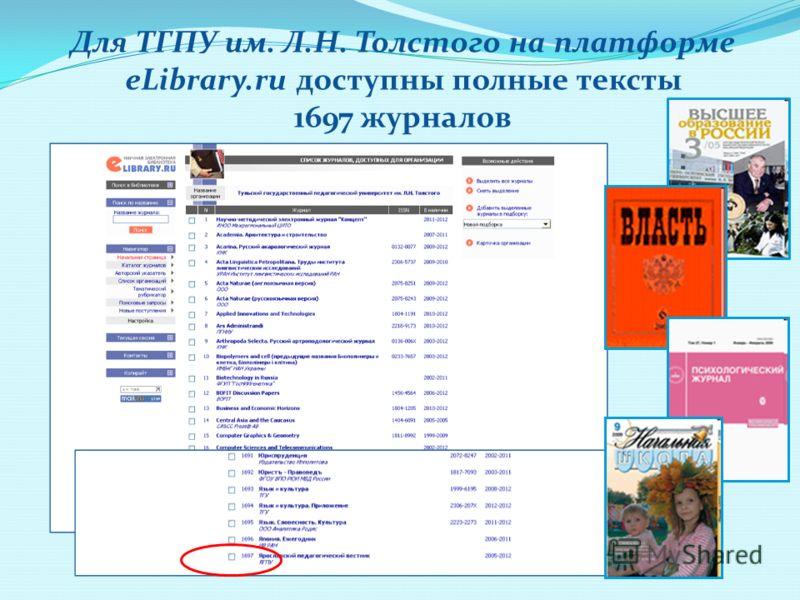 Для ТГПУ им. Л.Н. Толстого на платформе eLibrary.ru доступны полные тексты 1697 журналов