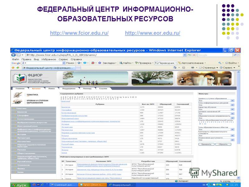 ФЕДЕРАЛЬНЫЙ ЦЕНТР ИНФОРМАЦИОННО- ОБРАЗОВАТЕЛЬНЫХ РЕСУРСОВ http://www.fcior.edu.ru/ http://www.eor.edu.ru/ http://www.fcior.edu.ru/http://www.eor.edu.ru/