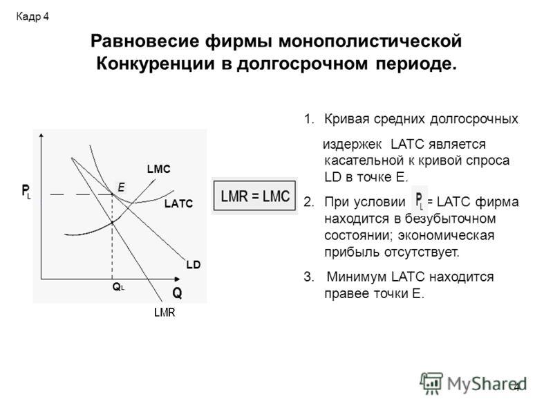 4 Равновесие фирмы монополистической Конкуренции в долгосрочном периоде. 1.Кривая средних долгосрочных издержек LATC является касательной к кривой спроса LD в точке Е. 2.При условии = LATC фирма находится в безубыточном состоянии; экономическая прибы
