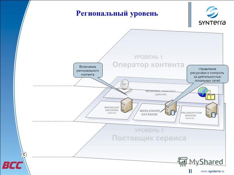 www.synterra.ru Региональный уровень Включение регионального контента Управление ресурсами и контроль за деятельностью локальных сетей