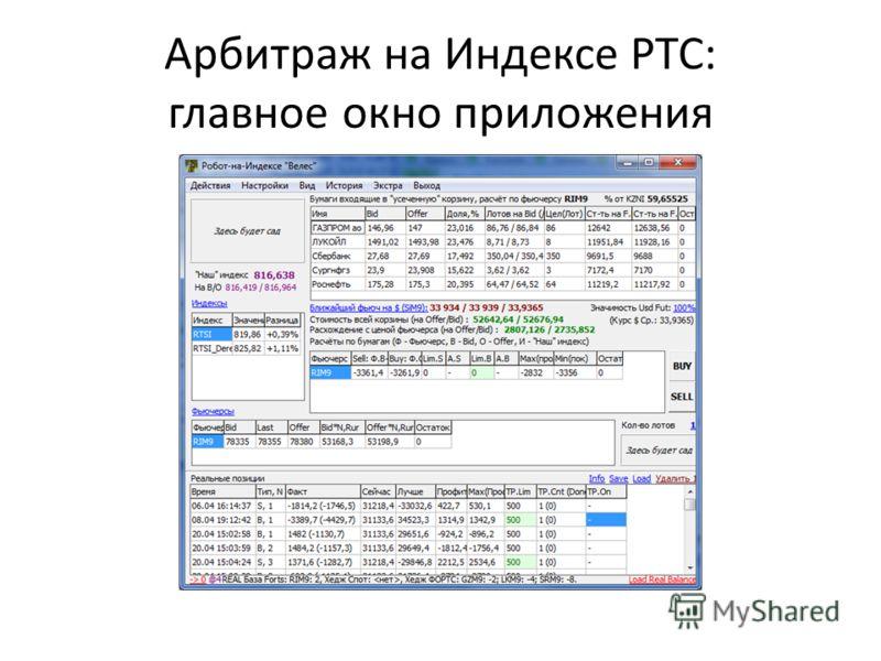 Арбитраж на Индексе РТС: главное окно приложения