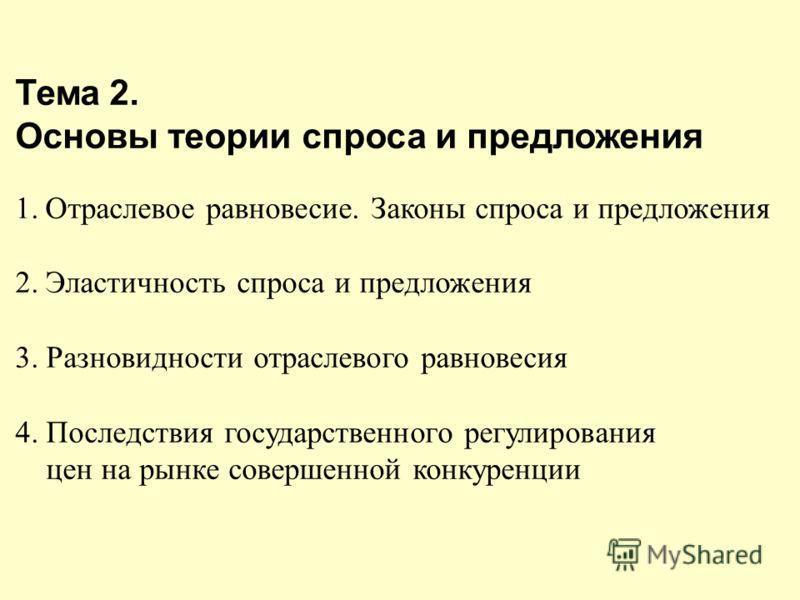 Тема 2. Основы теории спроса и предложения 1.Отраслевое равновесие. Законы спроса и предложения 2.Эластичность спроса и предложения 3. Разновидности отраслевого равновесия 4. Последствия государственного регулирования цен на рынке совершенной конкуре