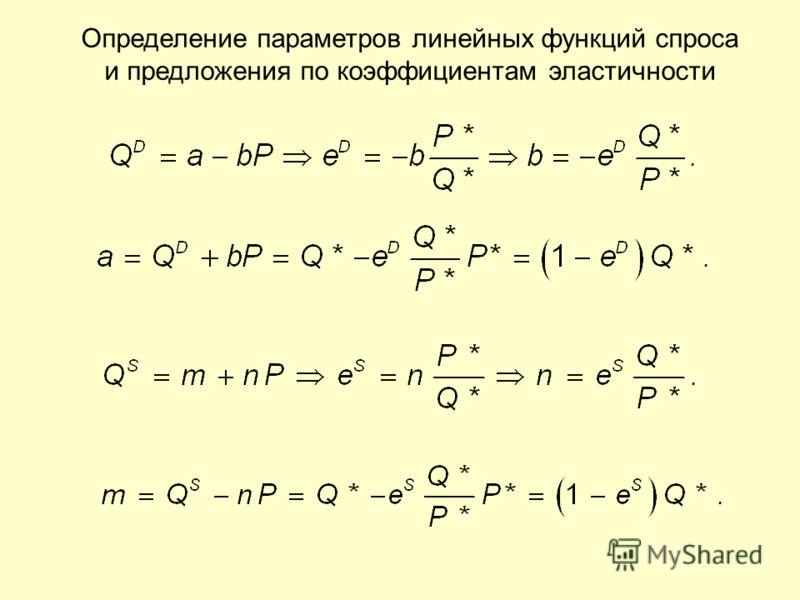Определение параметров линейных функций спроса и предложения по коэффициентам эластичности