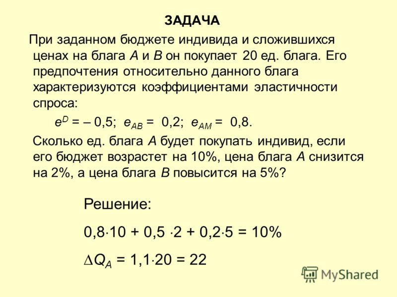 ЗАДАЧА При заданном бюджете индивида и сложившихся ценах на блага А и В он покупает 20 ед. блага. Его предпочтения относительно данного блага характеризуются коэффициентами эластичности спроса: e D = – 0,5; e АВ = 0,2; e АМ = 0,8. Сколько ед. блага А