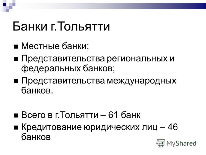 Банки г.Тольятти Местные банки; Представительства региональных и федеральных банков; Представительства международных банков. Всего в г.Тольятти – 61 банк Кредитование юридических лиц – 46 банков