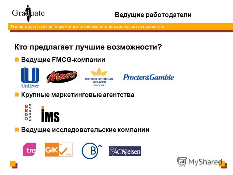 Рынок труда в сфере маркетинга: возможности для молодых специалистов Ведущие работодатели Кто предлагает лучшие возможности? Ведущие FMCG-компании Крупные маркетинговые агентства Ведущие исследовательские компании