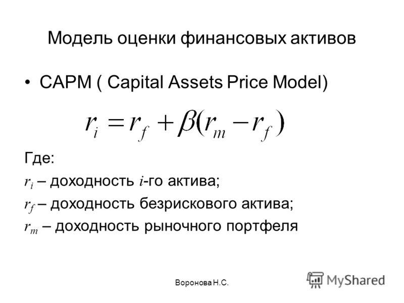 Воронова Н.С. Модель оценки финансовых активов CAPM ( Capital Assets Price Model) Где: r i – доходность i -го актива; r f – доходность безрискового актива; r m – доходность рыночного портфеля