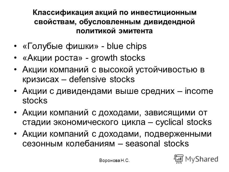 Воронова Н.С. Классификация акций по инвестиционным свойствам, обусловленным дивидендной политикой эмитента «Голубые фишки» - blue chips «Акции роста» - growth stocks Акции компаний с высокой устойчивостью в кризисах – defensive stocks Акции с дивиде