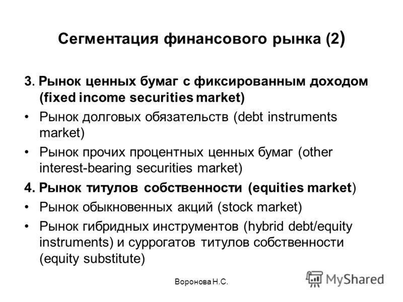 Воронова Н.С. Сегментация финансового рынка (2 ) 3. Рынок ценных бумаг с фиксированным доходом (fixed income securities market) Рынок долговых обязательств (debt instruments market) Рынок прочих процентных ценных бумаг (other interest-bearing securit