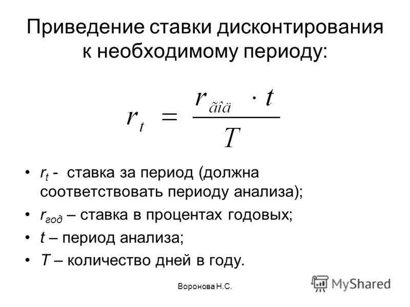 Воронова Н.С. Приведение ставки дисконтирования к необходимому периоду: r t - ставка за период (должна соответствовать периоду анализа); r год – ставка в процентах годовых; t – период анализа; T – количество дней в году.
