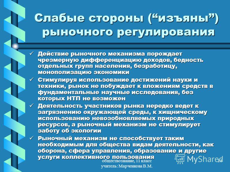 обществознание, 11 класс учитель: Марченкова В.М. 14 Слабые стороны (изъяны) рыночного регулирования Действие рыночного механизма порождает чрезмерную дифференциацию доходов, бедность отдельных групп населения, безработицу, монополизацию экономики Де