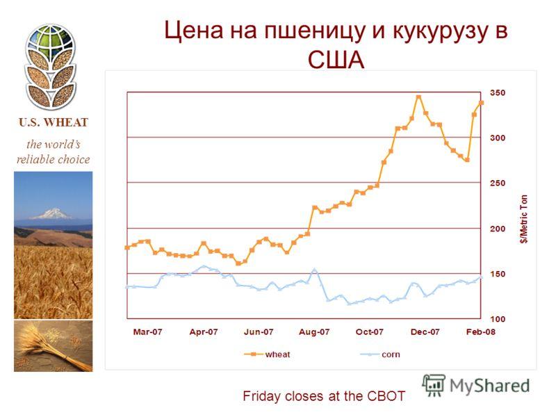 U.S. WHEAT the worlds reliable choice Цена на пшеницу и кукурузу в США Friday closes at the CBOT