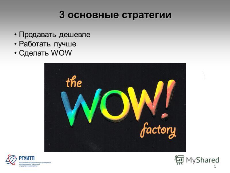 3 основные стратегии 5 Продавать дешевле Работать лучше Сделать WOW