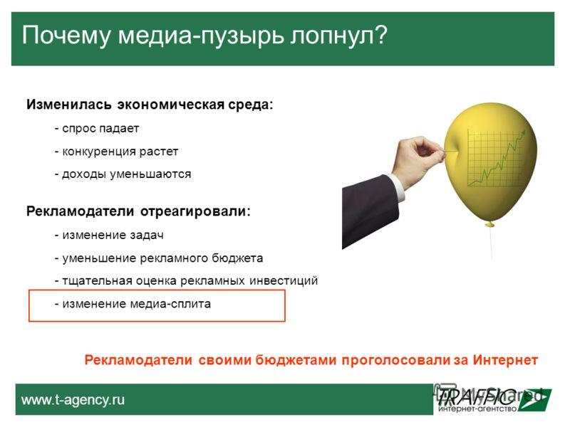 www.t-agency.ru Почему медиа-пузырь лопнул? Изменилась экономическая среда: - спрос падает - конкуренция растет - доходы уменьшаются Рекламодатели отреагировали: - изменение задач - уменьшение рекламного бюджета - тщательная оценка рекламных инвестиц