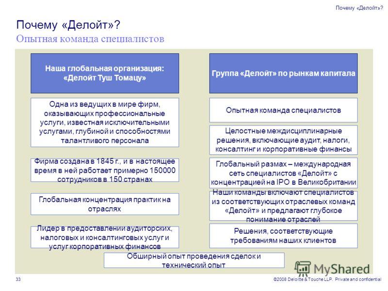 ©2008 Deloitte & Touche LLP. Private and confidential 33 Почему «Делойт»? Опытная команда специалистов Одна из ведущих в мире фирм, оказывающих профессиональные услуги, известная исключительными услугами, глубиной и способностями талантливого персона