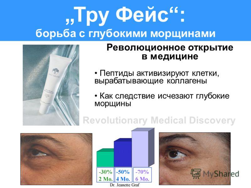Тру Фейс: борьба с глубокими морщинами Революционное открытие в медицине Пептиды активизируют клетки, вырабатывающие коллагены Как следствие исчезают глубокие морщины Revolutionary Medical Discovery