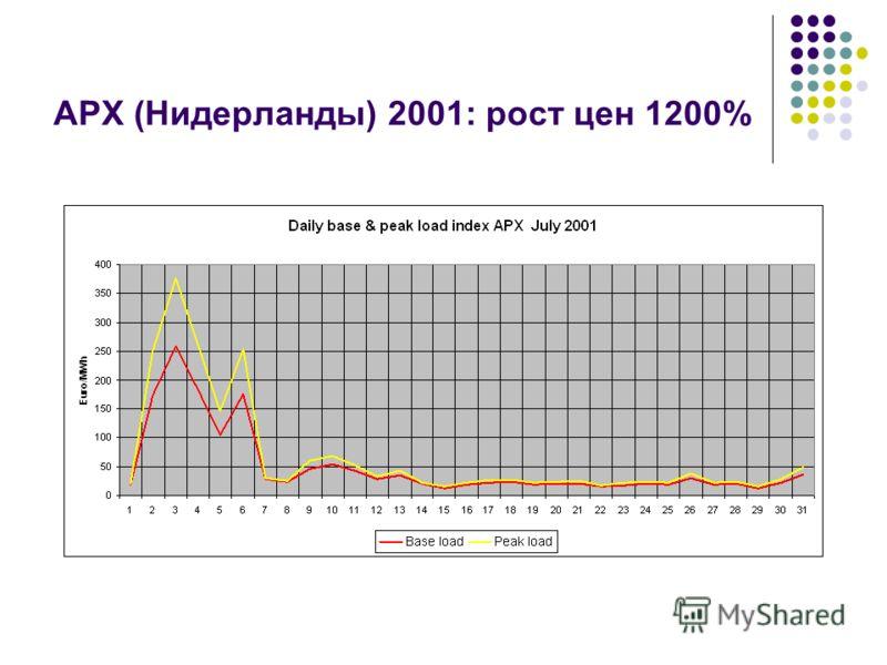APX (Нидерланды) 2001: рост цен 1200%