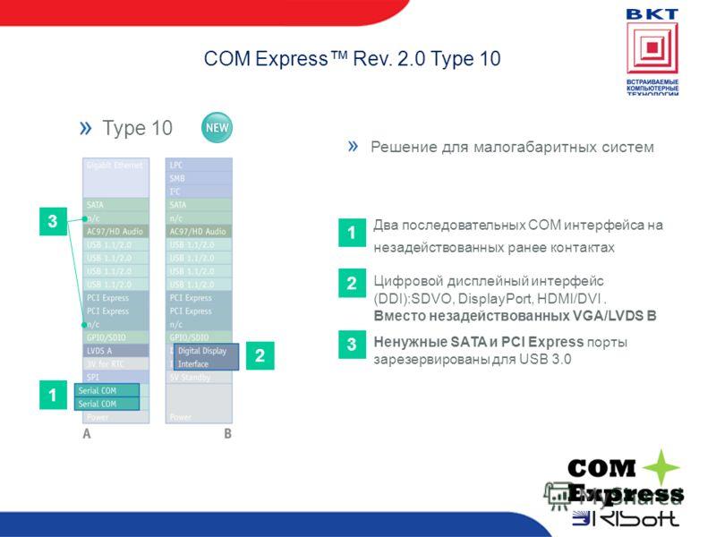 COM Express Rev. 2.0 Type 10 Type 10Type 6 Два последовательных COM интерфейса на незадействованных ранее контактах 1 2 3 Цифровой дисплейный интерфейс (DDI):SDVO, DisplayPort, HDMI/DVI. Вместо незадействованных VGA/LVDS B Ненужные SATA и PCI Express