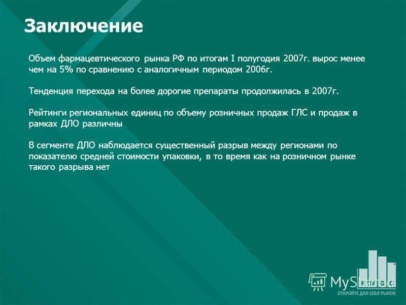 Объем фармацевтического рынка РФ по итогам I полугодия 2007г. вырос менее чем на 5% по сравнению c аналогичным периодом 2006г. Тенденция перехода на более дорогие препараты продолжилась в 2007г. Рейтинги региональных единиц по объему розничных продаж