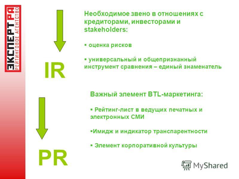 IR Необходимое звено в отношениях с кредиторами, инвесторами и stakeholders: оценка рисков универсальный и общепризнанный инструмент сравнения – единый знаменатель PR Важный элемент BTL-маркетинга: Рейтинг-лист в ведущих печатных и электронных СМИ Им