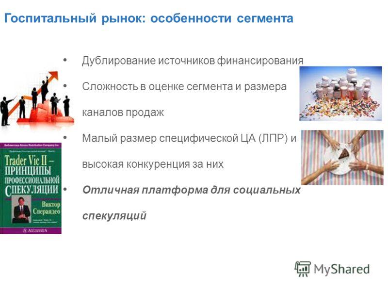 Дублирование источников финансирования Сложность в оценке сегмента и размера каналов продаж Малый размер специфической ЦА (ЛПР) и высокая конкуренция за них Отличная платформа для социальных спекуляций Госпитальный рынок: особенности сегмента