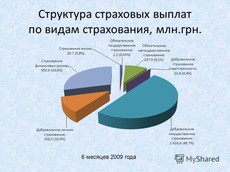 Структура страховых выплат по видам страхования, млн.грн. 6 месяцев 2009 года
