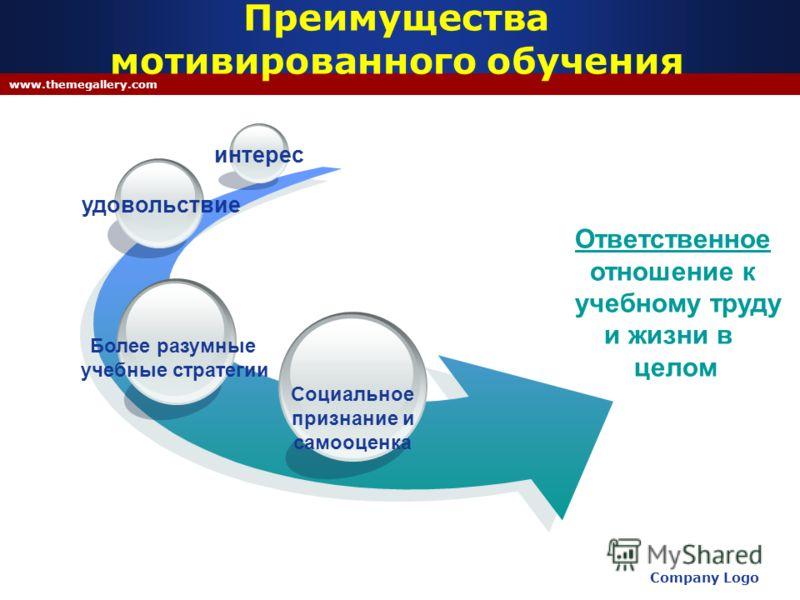 Company Logo www.themegallery.com Преимущества мотивированного обучения Ответственное отношение к учебному труду и жизни в целом Социальное признание и самооценка Более разумные учебные стратегии удовольствие интерес