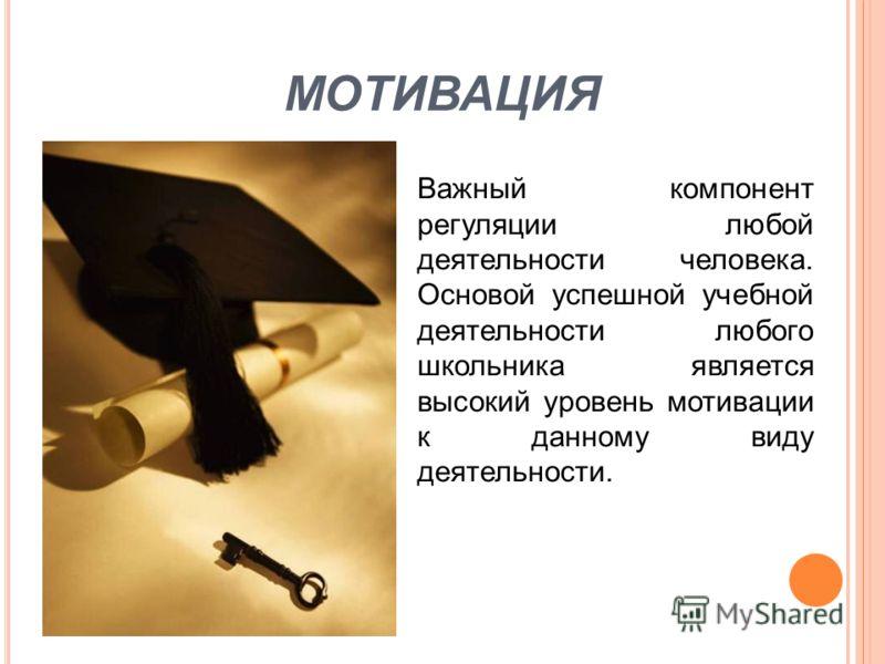 МОТИВАЦИЯ Важный компонент регуляции любой деятельности человека. Основой успешной учебной деятельности любого школьника является высокий уровень мотивации к данному виду деятельности.