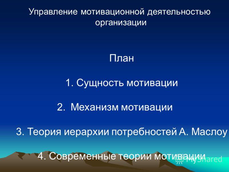 Управление мотивационной деятельностью организации План 1. Сущность мотивации 2.Механизм мотивации 3. Теория иерархии потребностей А. Маслоу 4. Современные теории мотивации