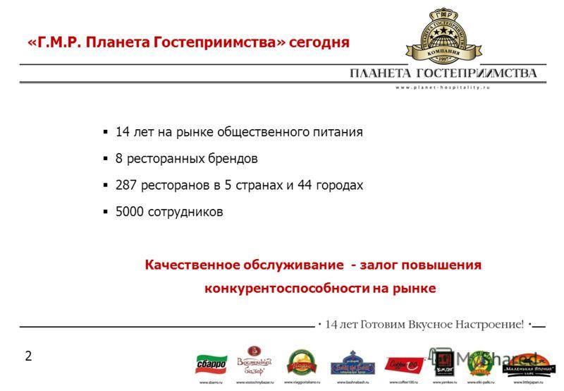 14 лет на рынке общественного питания 8 ресторанных брендов 287 ресторанов в 5 странах и 44 городах 5000 сотрудников Качественное обслуживание - залог повышения конкурентоспособности на рынке «Г.М.Р. Планета Гостеприимства» сегодня 2