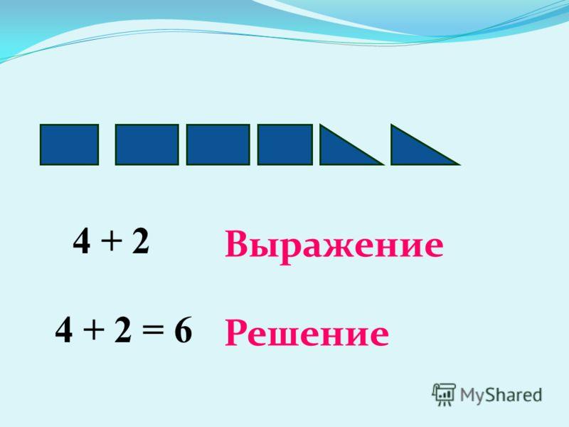 4 + 2 Выражение 4 + 2 = 6 Решение