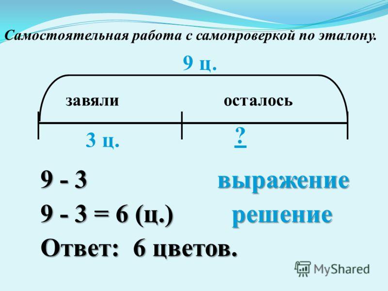 завялиосталось 9 ц. 3 ц. ? 9 - 3 выражение 9 - 3 = 6 (ц.) решение Ответ: 6 цветов. Самостоятельная работа с самопроверкой по эталону.