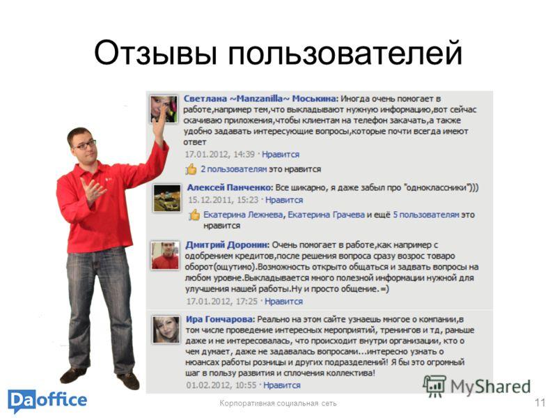 Отзывы пользователей Корпоративная социальная сеть 11