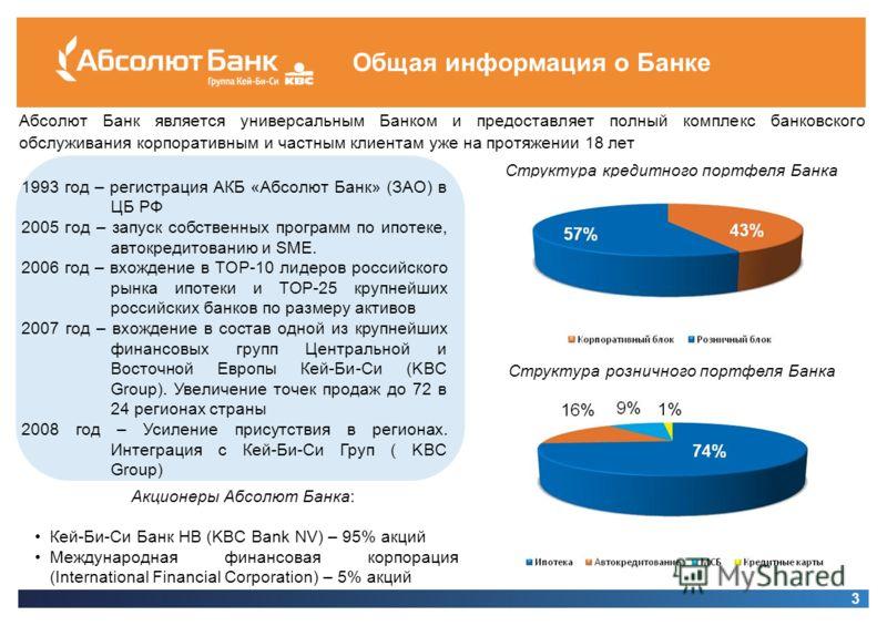 3 Общая информация о Банке Абсолют Банк является универсальным Банком и предоставляет полный комплекс банковского обслуживания корпоративным и частным клиентам уже на протяжении 18 лет 1993 год – регистрация АКБ «Абсолют Банк» (ЗАО) в ЦБ РФ 2005 год