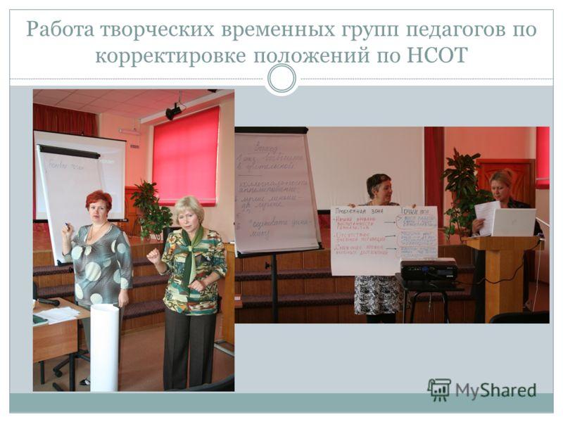 Работа творческих временных групп педагогов по корректировке положений по НСОТ