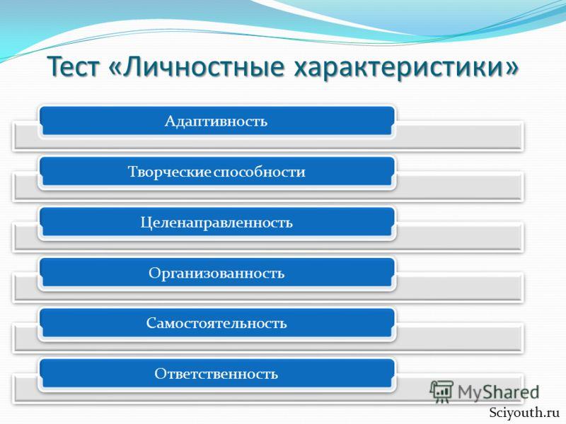 Тест «Личностные характеристики» Sciyouth.ru