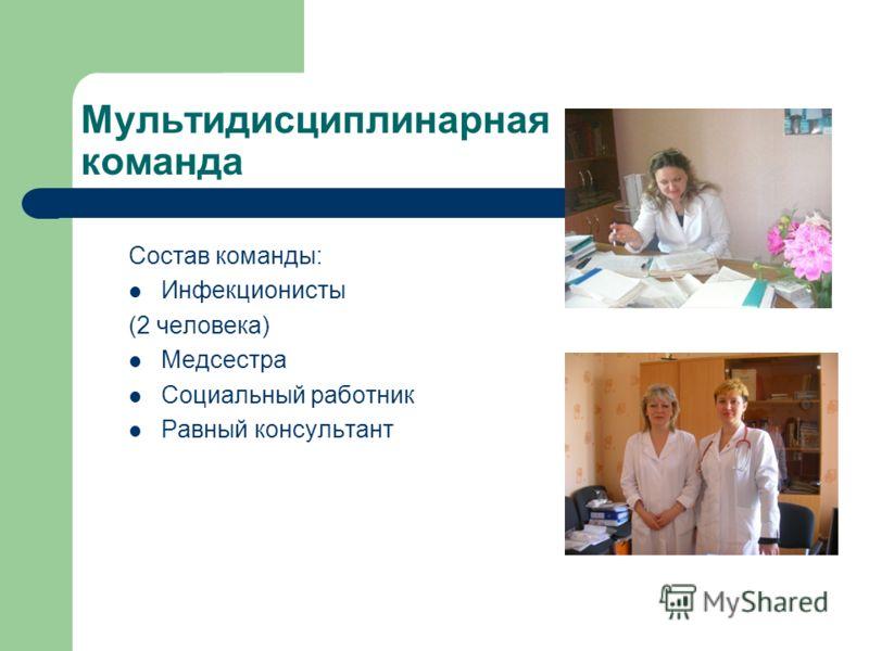 Мультидисциплинарная команда Состав команды: Инфекционисты (2 человека) Медсестра Социальный работник Равный консультант