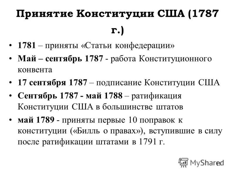 11 Принятие Конституции США (1787 г.) 1781 – приняты «Статьи конфедерации» Май – сентябрь 1787 - работа Конституционного конвента 17 сентября 1787 – подписание Конституции США Сентябрь 1787 - май 1788 – ратификация Конституции США в большинстве штато