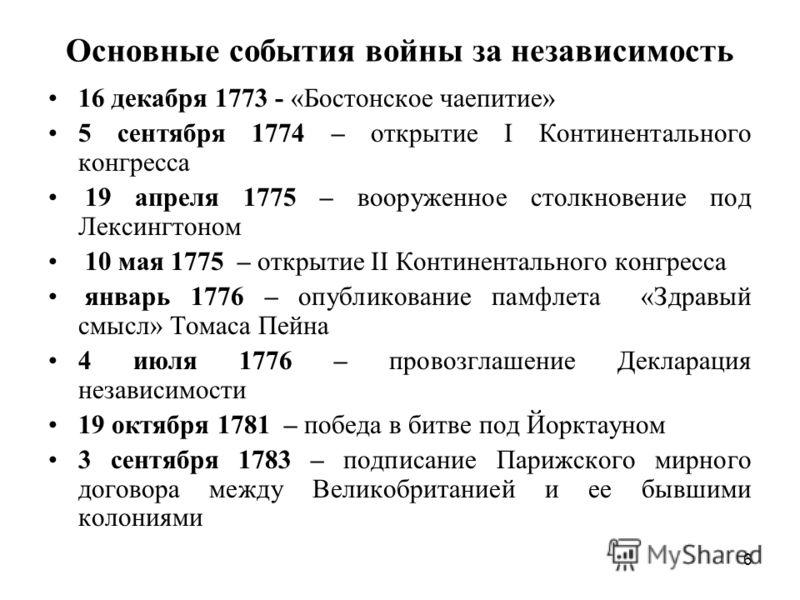6 Основные события войны за независимость 16 декабря 1773 - «Бостонское чаепитие» 5 сентября 1774 – открытие I Континентального конгресса 19 апреля 1775 – вооруженное столкновение под Лексингтоном 10 мая 1775 – открытие II Континентального конгресса