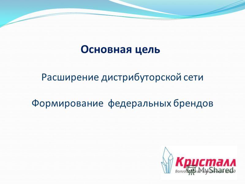 Основная цель Расширение дистрибуторской сети Формирование федеральных брендов