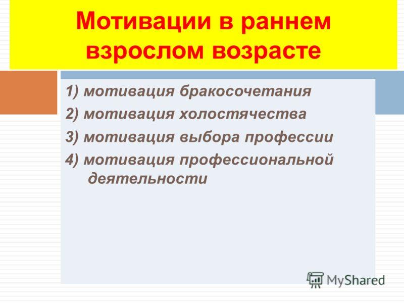1) мотивация бракосочетания 2) мотивация холостячества 3) мотивация выбора профессии 4) мотивация профессиональной деятельности Мотивации в раннем взрослом возрасте