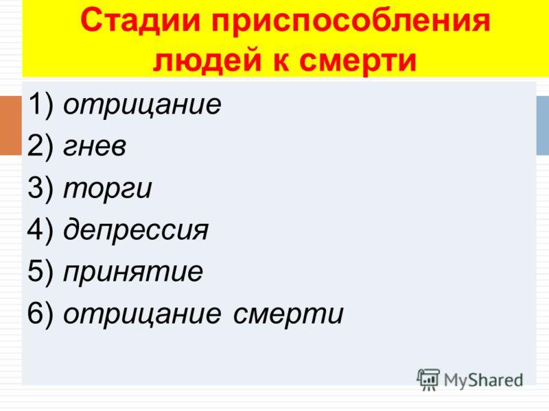1) отрицание 2) гнев 3) торги 4) депрессия 5) принятие 6) отрицание смерти Стадии приспособления людей к смерти