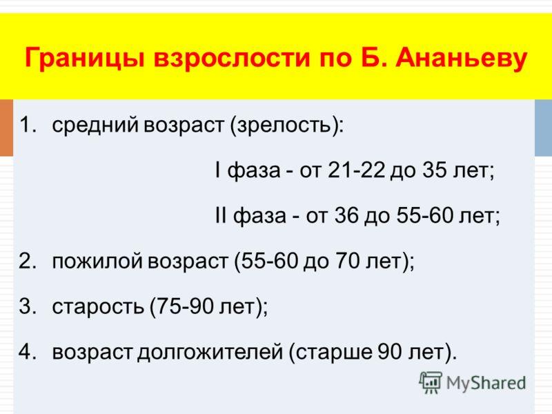 1.средний возраст (зрелость): I фаза - от 21-22 до 35 лет; II фаза - от 36 до 55-60 лет; 2.пожилой возраст (55-60 до 70 лет); 3.старость (75-90 лет); 4.возраст долгожителей (старше 90 лет). Границы взрослости по Б. Ананьеву