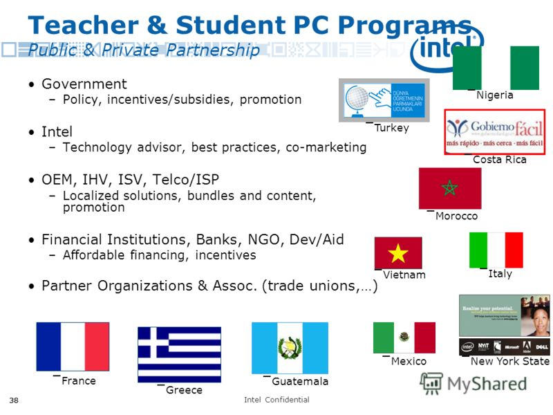 Intel Confidential 38 Teacher & Student PC Programs Public & Private Partnership Government –Policy, incentives/subsidies, promotion Intel –Technology advisor, best practices, co-marketing OEM, IHV, ISV, Telco/ISP –Localized solutions, bundles and co