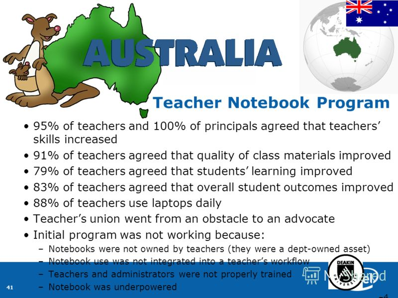 41 95% of teachers and 100% of principals agreed that teachers skills increased 91% of teachers agreed that quality of class materials improved 79% of teachers agreed that students learning improved 83% of teachers agreed that overall student outcome