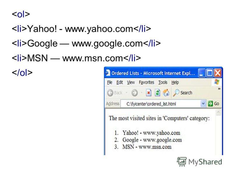 Yahoo! - www.yahoo.com Google www.google.com MSN www.msn.com