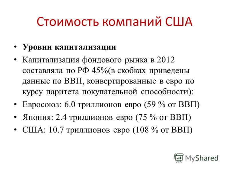 Стоимость компаний США Уровни капитализации Капитализация фондового рынка в 2012 составляла по РФ 45%(в скобках приведены данные по ВВП, конвертированные в евро по курсу паритета покупательной способности): Евросоюз: 6.0 триллионов евро (59 % от ВВП)