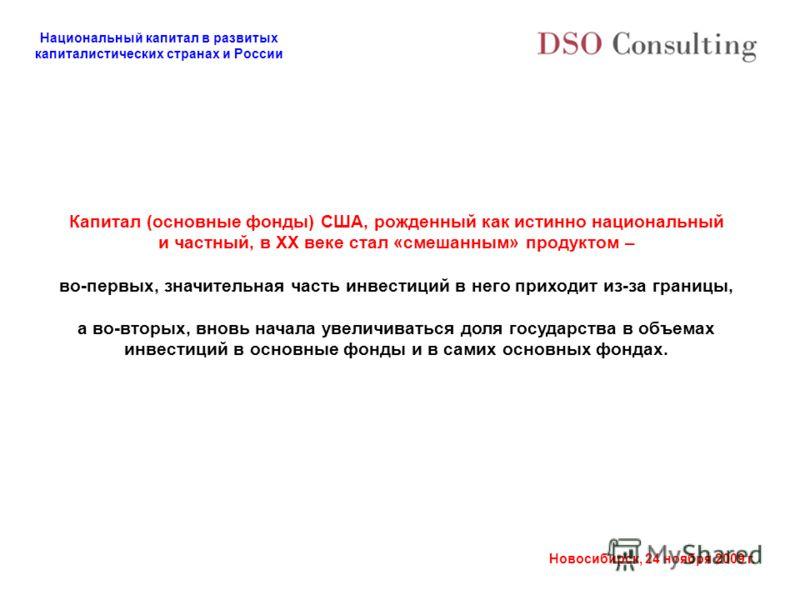 Национальный капитал в развитых капиталистических странах и России Новосибирск, 24 ноября 2009 г. Капитал (основные фонды) США, рожденный как истинно национальный и частный, в ХХ веке стал «смешанным» продуктом – во-первых, значительная часть инвести