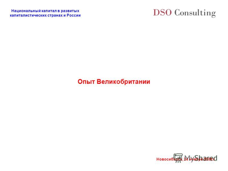 Национальный капитал в развитых капиталистических странах и России Новосибирск, 24 ноября 2009 г. Опыт Великобритании