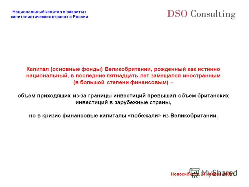 Национальный капитал в развитых капиталистических странах и России Новосибирск, 24 ноября 2009 г. Капитал (основные фонды) Великобритании, рожденный как истинно национальный, в последние пятнадцать лет замещался иностранным (в большой степени финансо